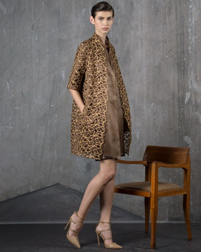 Akris - metallic lace coat - Ricamificio Paolo Italy - The Italian Embroidery